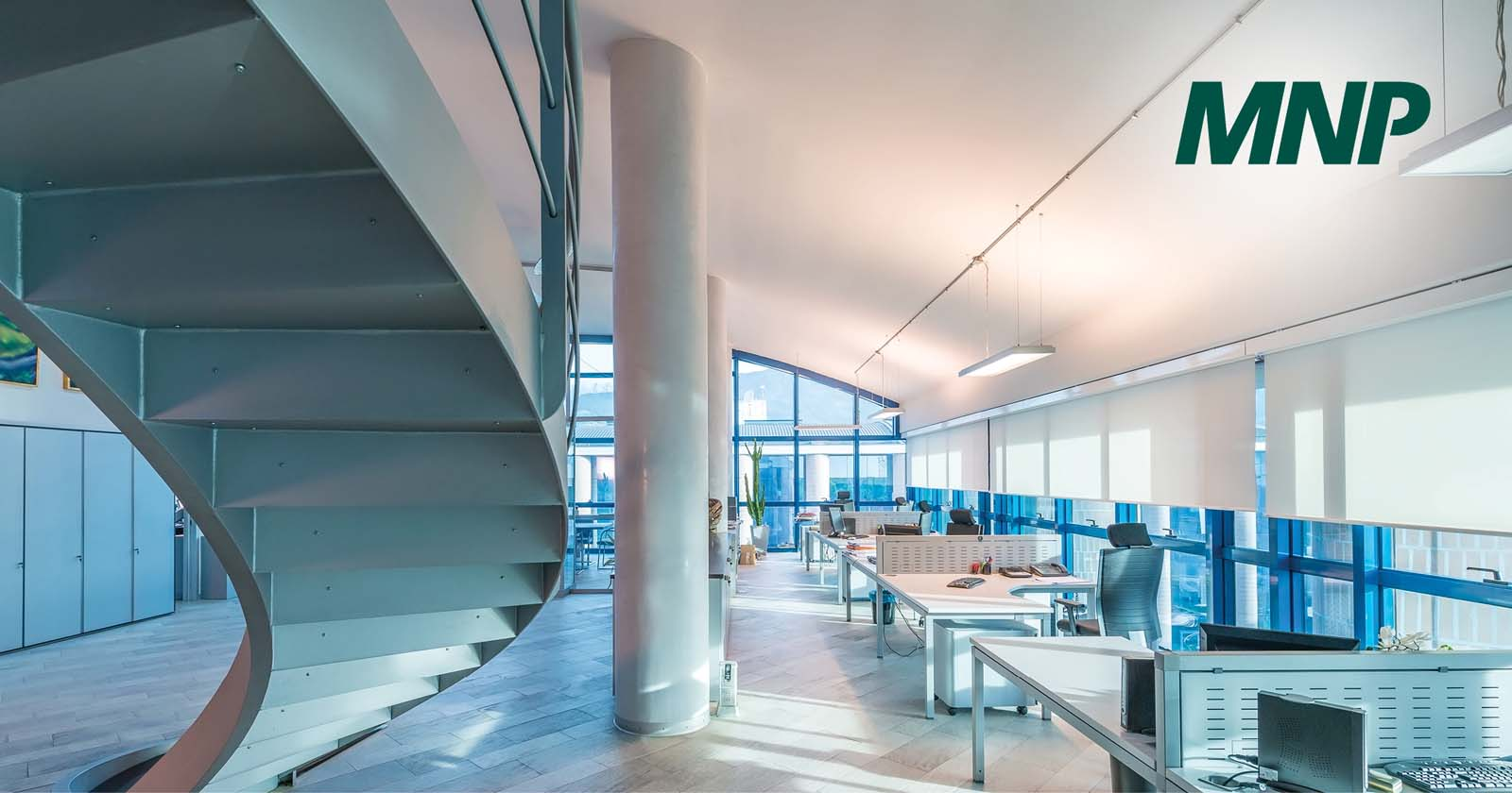 Open office space with a staircase