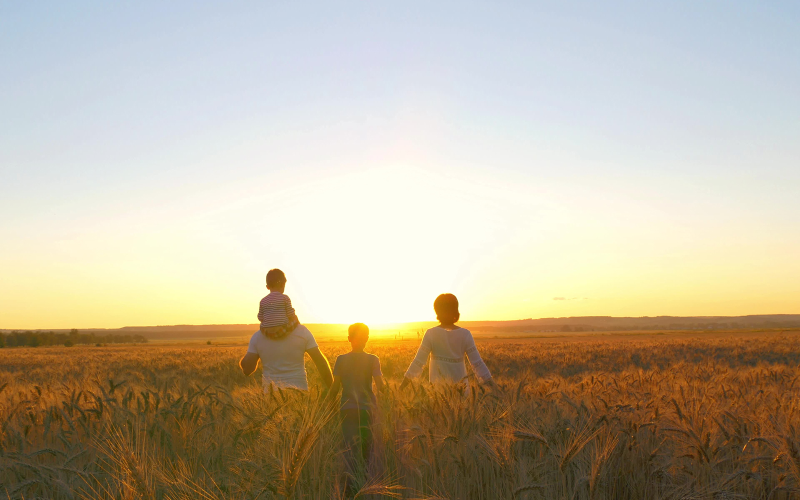 A family walking through a field at sunset