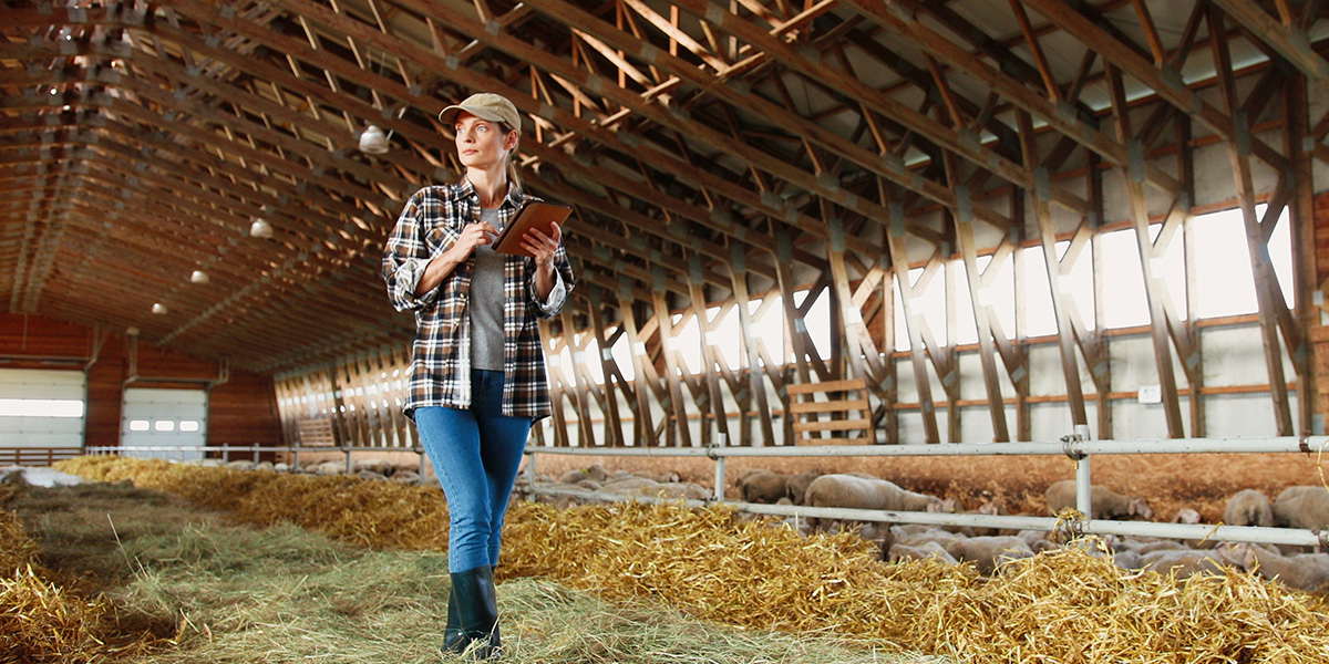 woman walking in a barn