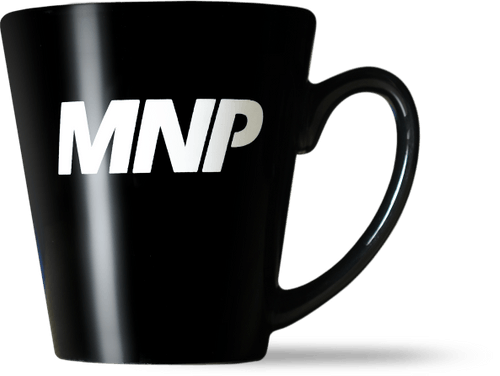 MNP black coffee mug