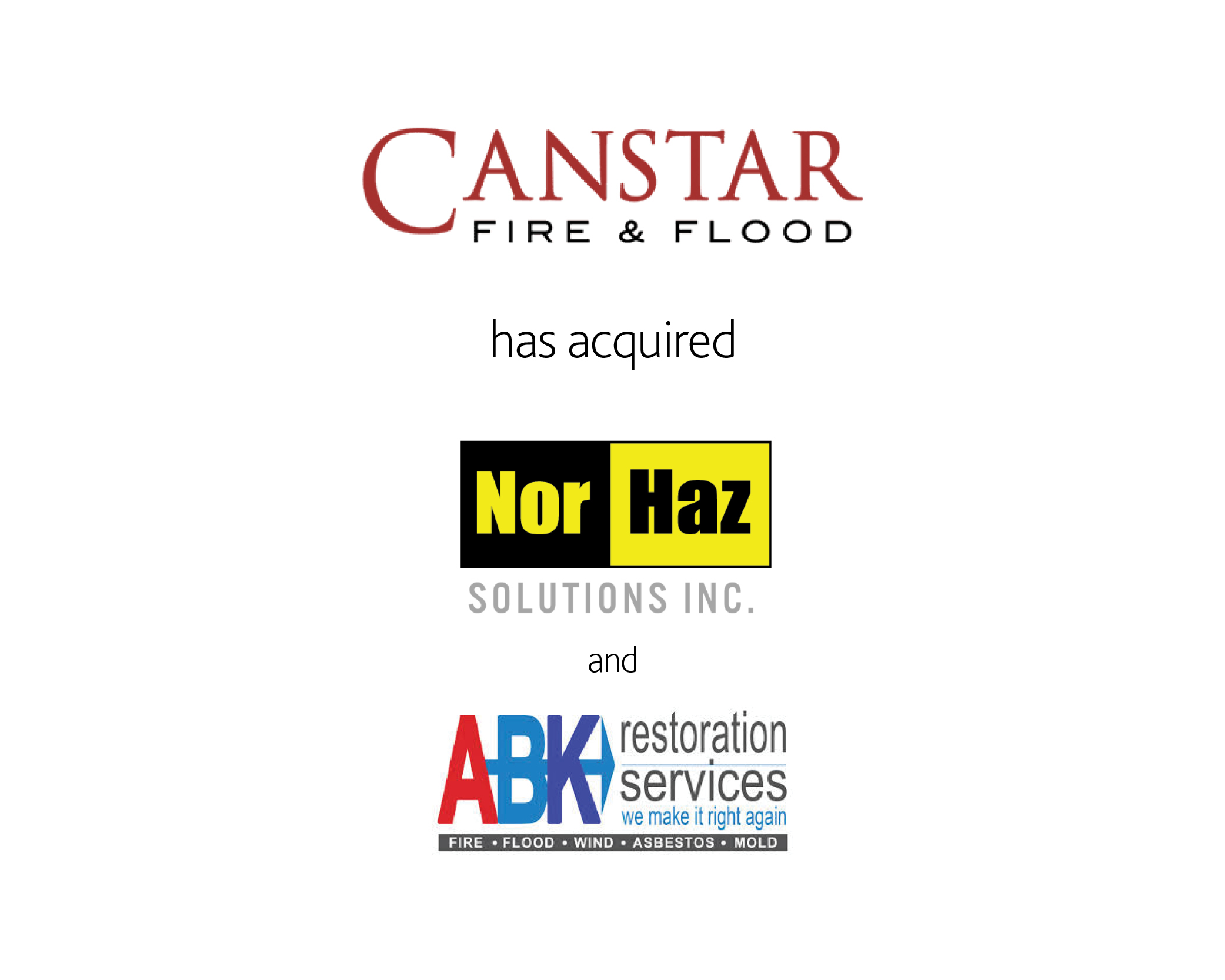 Canstar Fire & Flood has acquired Nor Haz Solutions INC and ABK Restoration Services