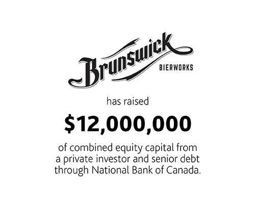 Brunswick Bierworks has raised $12,000,000 of combined equity capital from a private investor and senior debt through National Bank of Canada