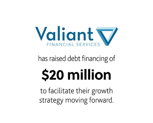Valiant Financial Services Inc. has raised debt financing of $20 million to facilitate their growth strategy moving forward.