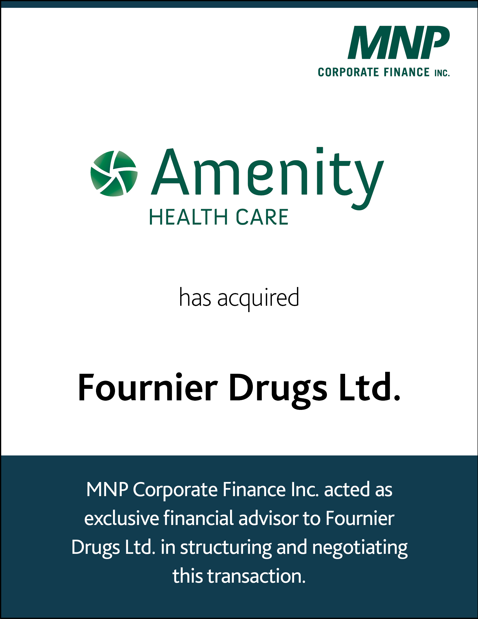 Amenity Health Care L.P. has acquired Fournier Drugs Ltd.