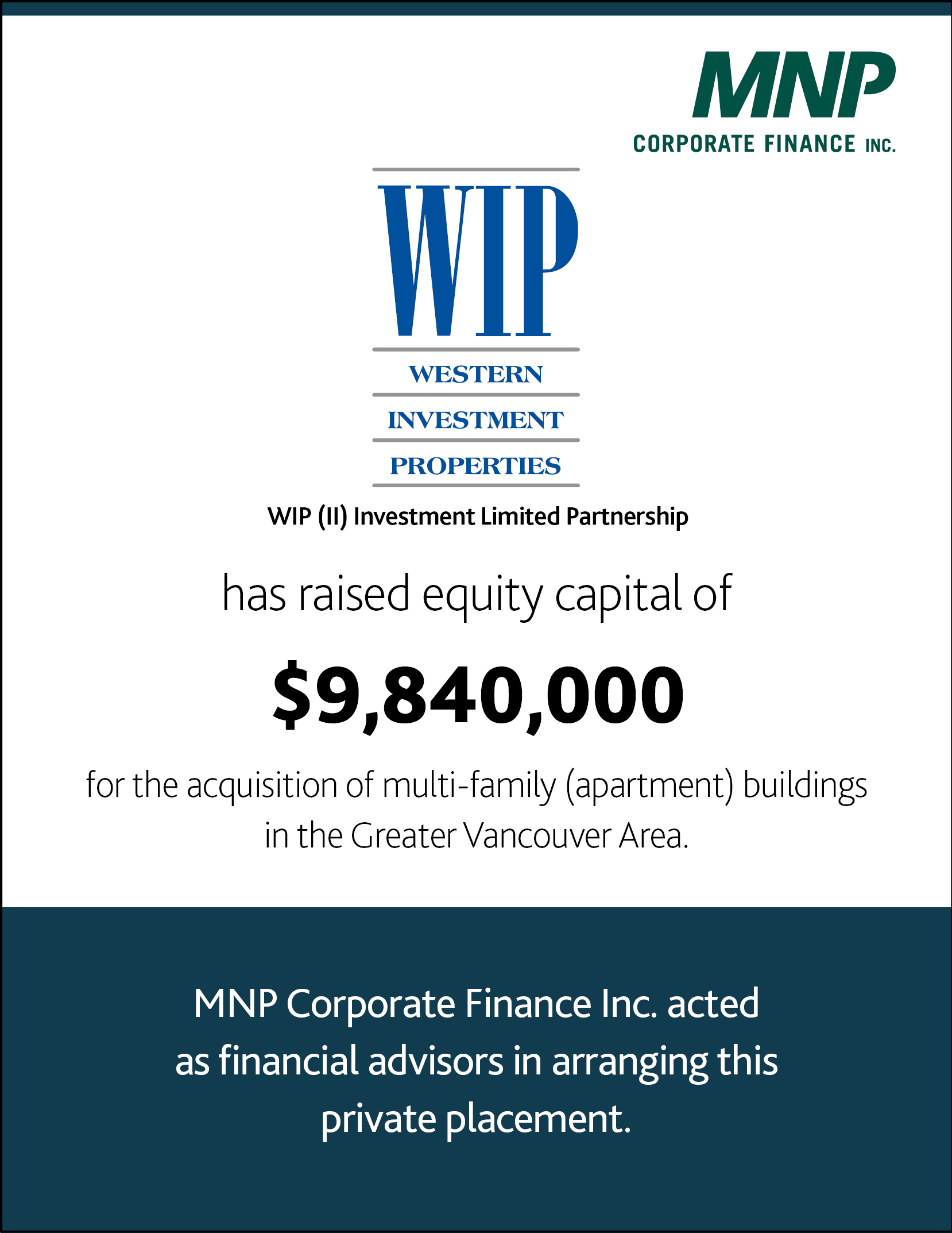 WIP (II) Investment LP has raised equity capital of $9,840,000 for the acquisition of multi-family (apartments) buildings in the Greater Vancouver Area.