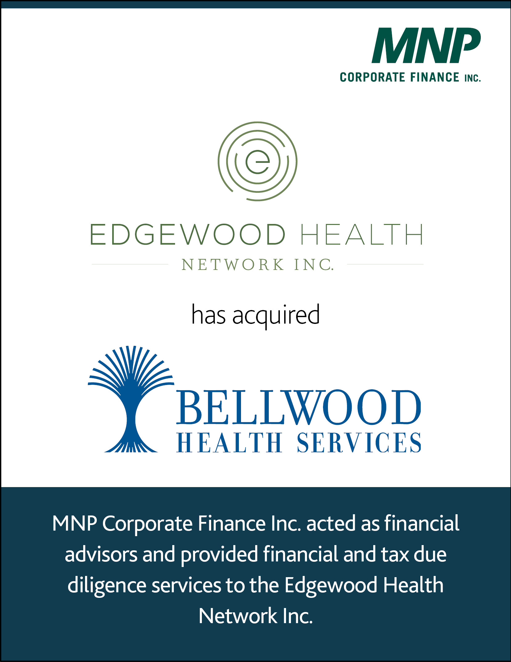 Edgewood Health Network INC has acquired Bellwood Health Services