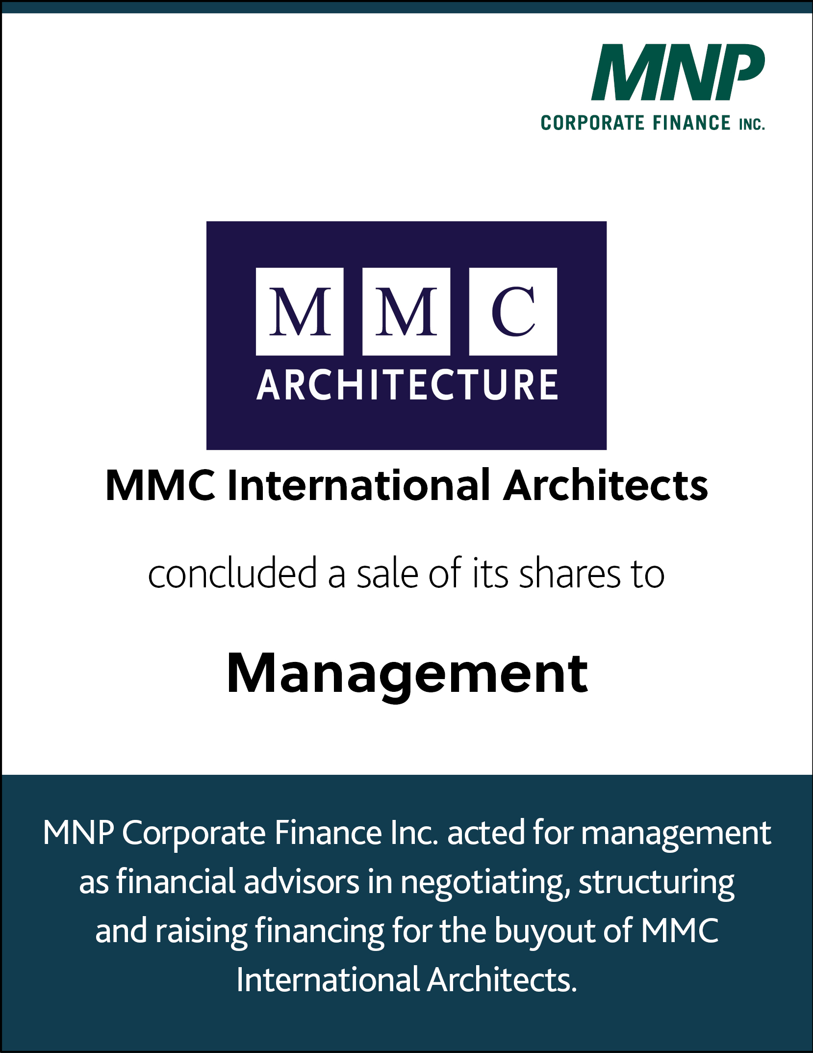 MMC International Architects concluded a sale of its shares to Management