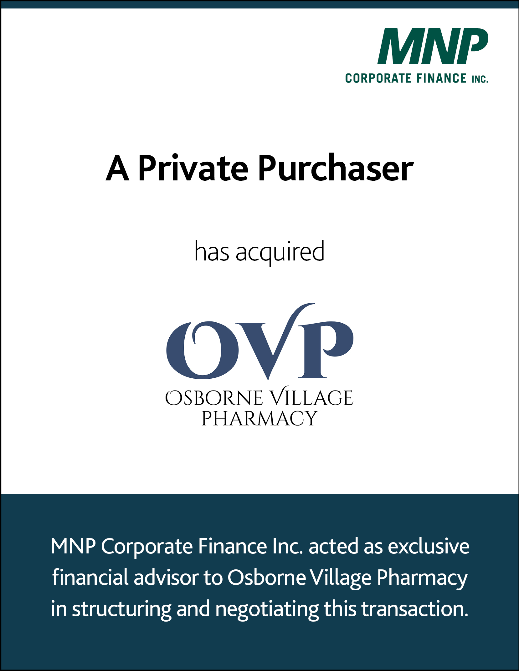 A private purchaser has acquired Osborne Village Pharmacy.