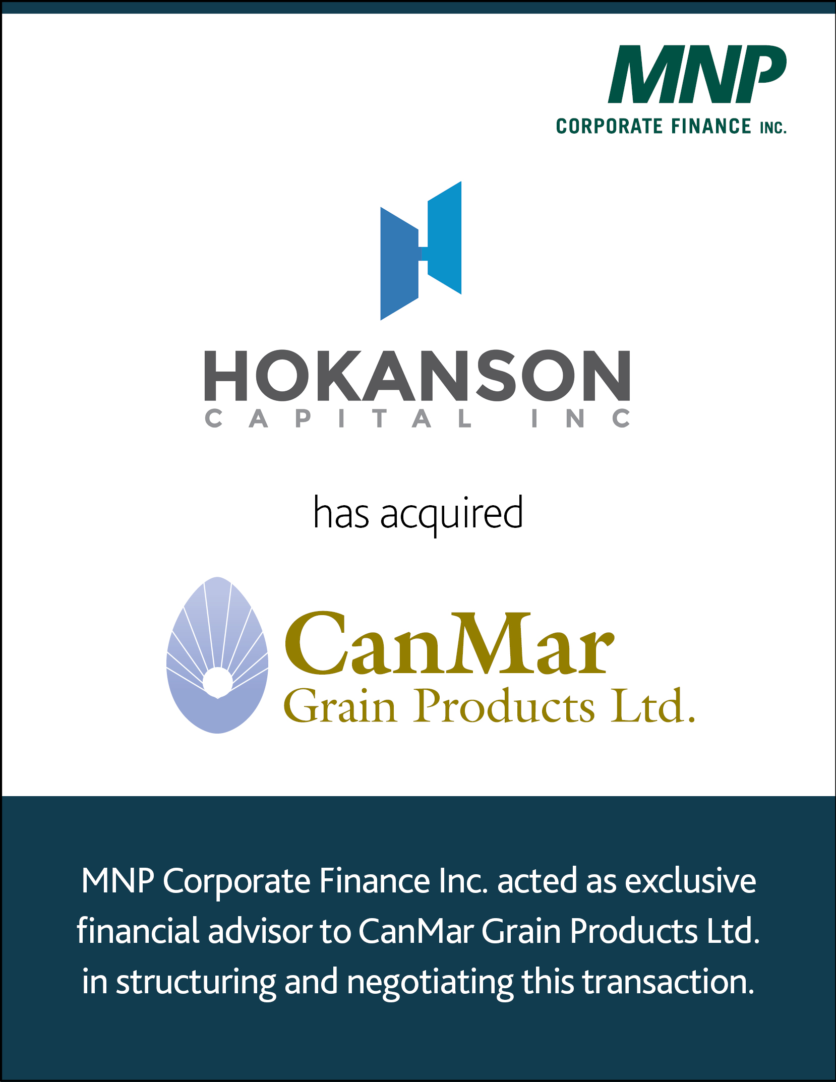 Hokanson Capital Inc. has acquired CanMar Grain Products Ltd.