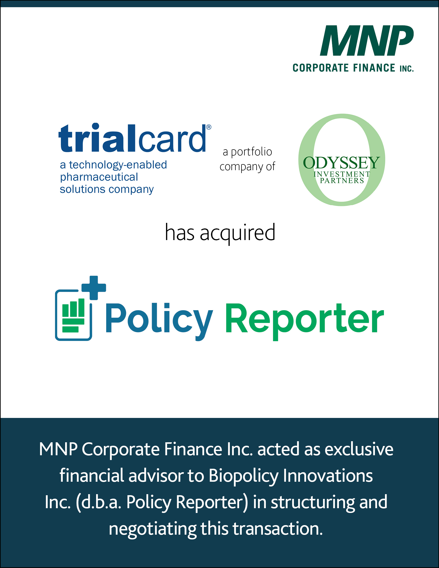 TrialCard Inc. a portfolio company of Odyssey Investment Partners LLC has acquired Biopolicy Innovations Inc.