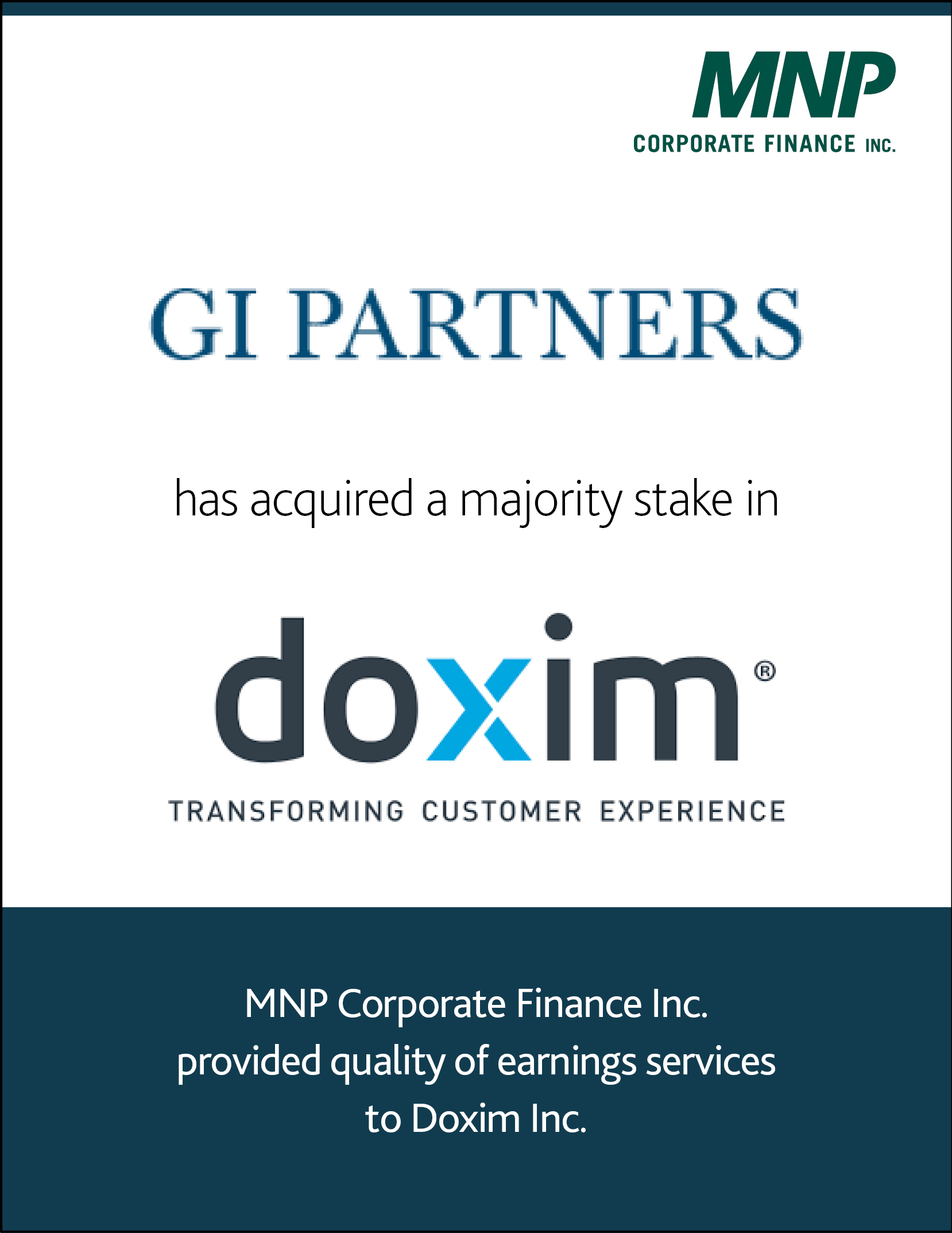GI Partners has acquired a majority stake in Doxim Inc.