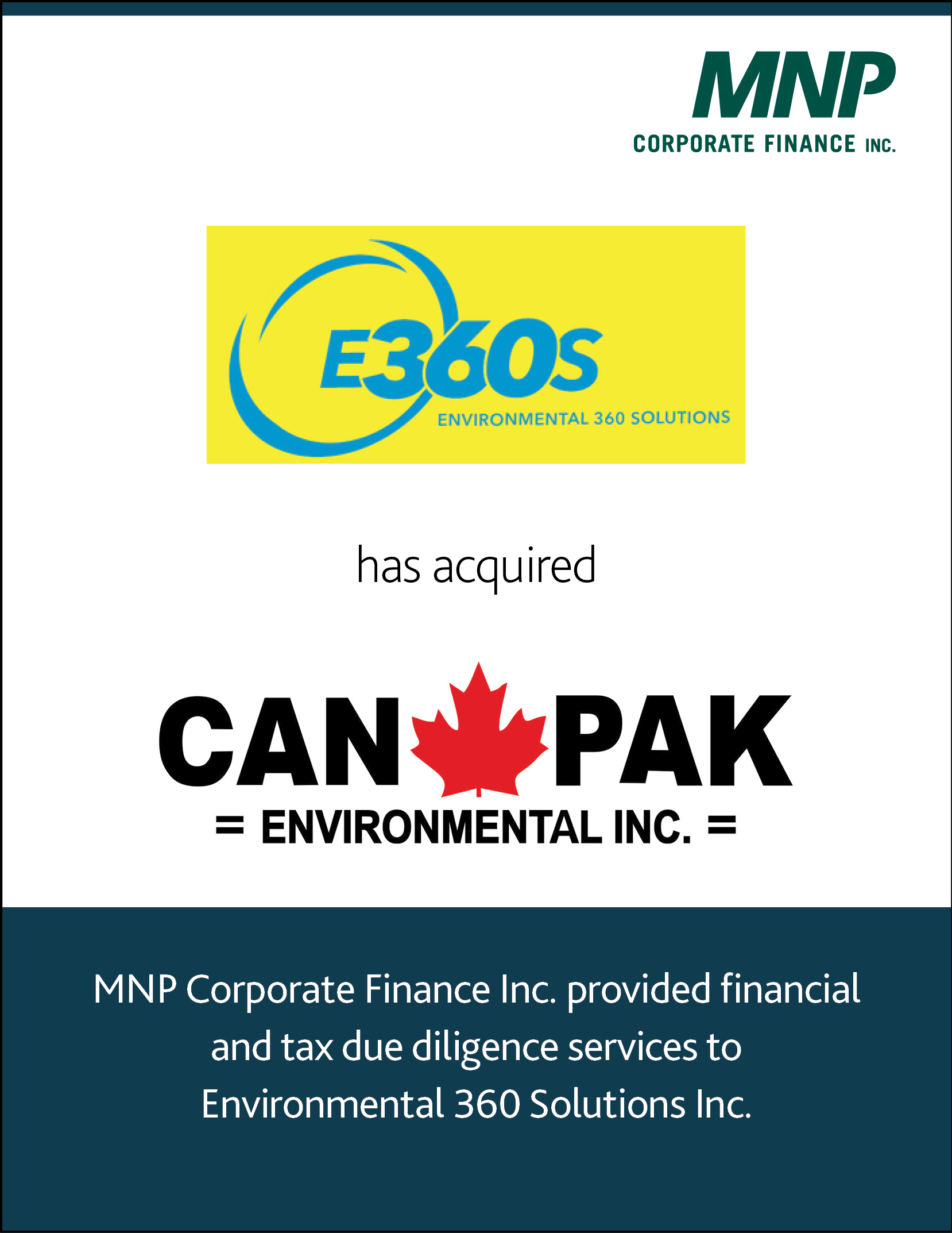 Environmental 360 Solutions Inc. has acquired Can Pak Environmental Inc.
